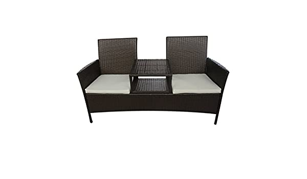 Amazon.com: Daonanba Combine Style Outdoor Poly Rattan Two Seater Bench  With Tea Table Relaxing Garden Furniture Set Brown: Garden U0026 Outdoor