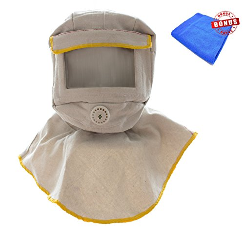 Sandblasting Hood. Blasting Hood Made From Durable Canvas with Large Viewing Screen & Value for Ventilation. Perfect Abrasive Sandblast Hood