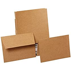 "JAM Paper Blank Stationery Set - 4"" x 5 1/2"" - Recycled Brown Kraft Paper Bag - 50 Foldover Cards with 50 Matching Envelopes"