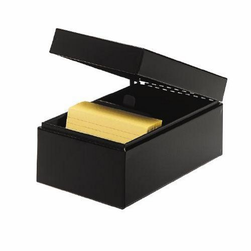 STEELMASTER Steel Card File Box, Fits 3 x 5 Index Cards, 900 Card Capacity, 5.5 x 4 x 8.5 Inches, Black (263835BLA) by MMF Industries