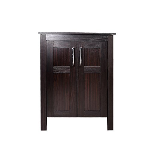 24 Inches Bathroom Vanity, Modern Stand Pedestal Cabinet, Wood Dark Coffee Fixture, without Mirror