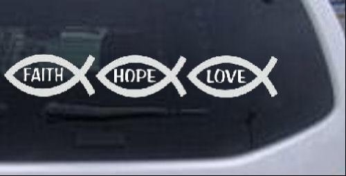 Christian Fish Faith Hope Love Christian Car Window Wall Laptop Decal Sticker -- White 2in X 12in