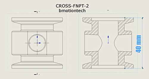 """Vacuum Adaptive Cross Both Ends KF25 Flange and Double Middle 1/4"""" FNPT Port, End to end Length 40 mm by Bmotiontech (Image #4)"""