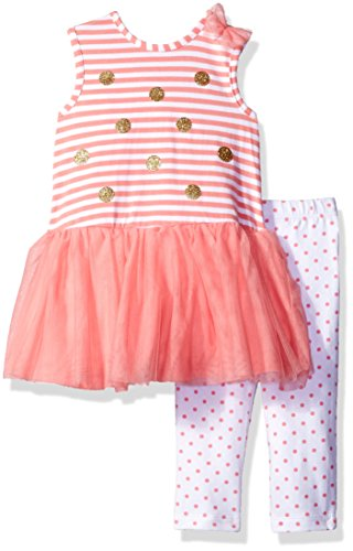 Little Me Baby Toddler Girls' Mesh Play Dress With Capri Set, Coral Print, 4T (Toddler Girls Capri Set)