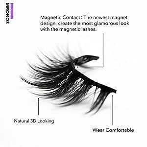 MRONOS Magnetic Eyelash and Eyeliner Kit,Upgraded 3D Magnetic False Eyelashes Set,With Reusable Lashes (5 Pairs)