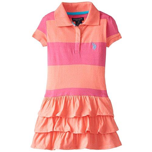 [U.S. POLO ASSN. Little Girls' Ruffled Stripe Polo Dress, Calypso Peach, 6X] (Orange Ruffled)