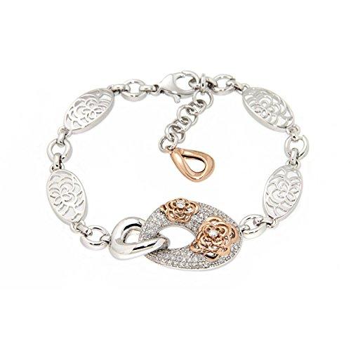 D'sire 18K Rose & White Gold Diamond Bangle Bracelet TDW 0.942 ()