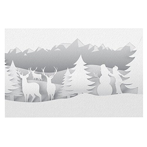 KESS InHouse Snap Studio White as Snow  Simple Dog Place Mat, 13  x 18