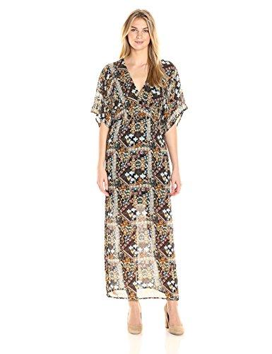 James & Erin Womens Wide-Sleeve V-Neck Maxi Dress