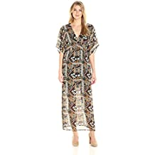 James & Erin Women's Wide-Sleeve V-Neck Maxi Dress