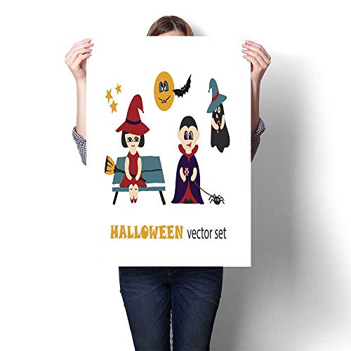 Living Room Home Office Decorations Halloween Vector Clip Art Set with Kids in Costumes Decorative Fine Art Canvas Print Poster K 20