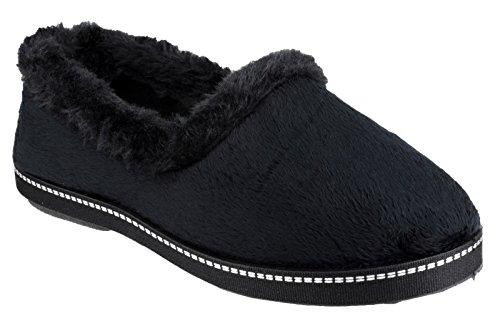 Slipper Mirak Faux Dijon Textile Ladies Textile Accented Mirak Stitch Black Black Fur r8qtZ8nw