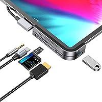 iPad Pro USB C Hub, iPad Pro 2018 Docking Station, Baseus 6-in-1 Aluminum iPad Pro Dongle USB Type-C Adapter with 4K...