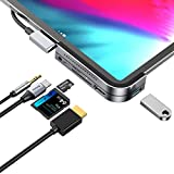 iPad Pro USB C Hub, iPad Pro 2018 Docking Station, Baseus 6-in-1 Aluminum iPad Pro Dongle USB Type-C Adapter with 4K HDMI, USB-C PD Charging, SD/Micro Card Reader, USB 3.0 & 3.5mm Headphone Jack