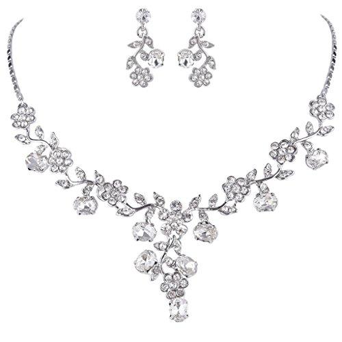 Bridal necklaces amazon ever faith wedding flower leaf necklace earrings set austrian crystal silver tone clear junglespirit Gallery