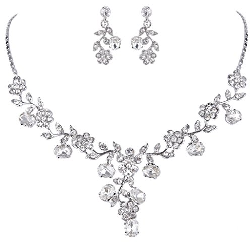 Silver Leaf Necklace (EVER FAITH Wedding Flower Leaf Necklace Earrings Set Austrian Crystal Silver-Tone - Clear)