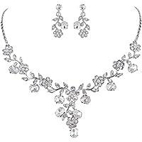 EVER FAITH Flower Leaf Necklace Earrings Set Austrian Crystal