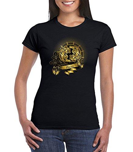 Gold Pisces Zodiac Sign Astrology Horoscope Women Tshirt (Medium, Black)