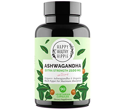 Organic Ashwagandha Root 2100mg - with Black Pepper for Increased Absorption | Powerful Natural Stress Relief, Anti-Anxiety Supplement- Potent Mood, Adrenal & Cortisol Support - 90 Veggie Capsules