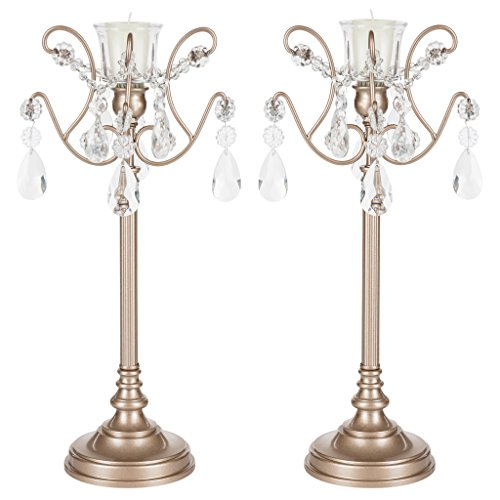 Amalfi Décor Tiffany 2-Piece Champagne Metal Candelabra Set, Votive Candle Taper Candlestick Holder Unity Accent (Wedding Candlesticks)