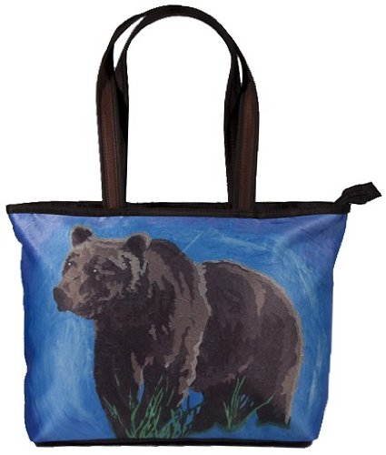 Grizzly Bear Shoulder Bag, Vegan Tote Bag - Animal Prints - From My Original Paintings - Support Wildlife Conservation, Read How (Grizzly Bear - Brave) - North American Bear Handbag