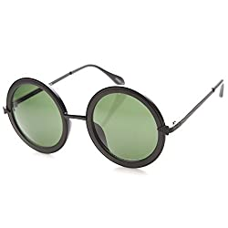 zeroUV - Womens High Fashion Metal Arrow Accent Super Round Sunglasses (Matte Black-Black / Green)