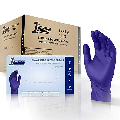 1st Choice Safety Indigo Nitrile 4 Mil Thick Disposable Gloves Medium Case of 1000   Exam Medical Latex Free Indigo Medium