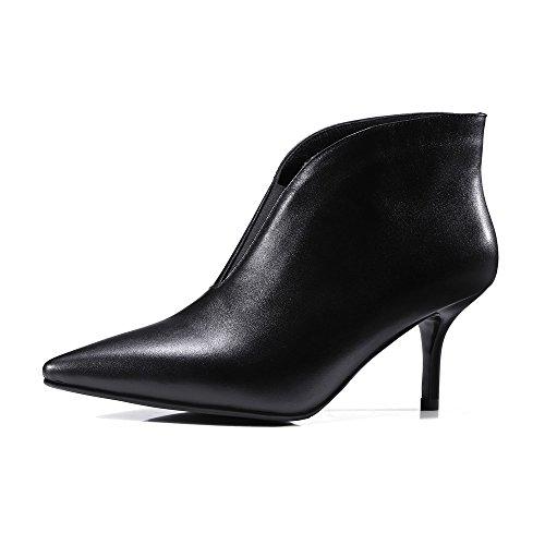 Nine Seven Cuero Moda Puntiagudos Botas de Tacón de Aguja de Invierno de Vestir para Mujer negro