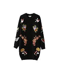 Winter Autumn Medium Round Neck Loose Sweater Hipster Fashion Sweater Dress , black , m