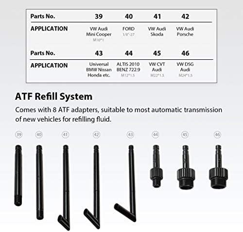 FIRSTINFO Manual de 6,5 litros Dispensador del sistema de recarga de ATF Kit de bomba de recarga de aceite y l/íquido de transmisi/ón autom/ática con adaptadores de recarga de ATF de 8 piezas