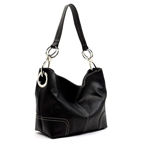 Americana Bucket Style Hobo Shoulder Bag with Big Snap Hook (Style Bucket Hook)