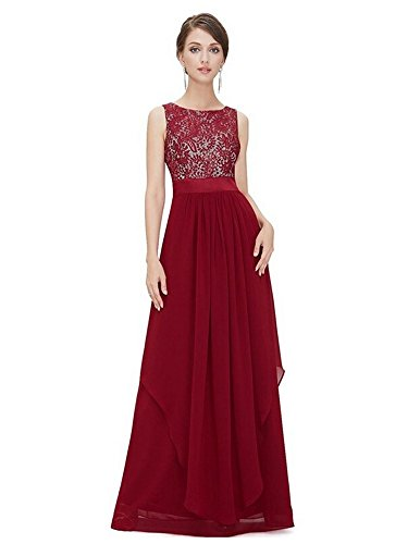 WELVT Women's Chiffon Lace Sleeveless Bridesmaid Long Dress Evening Dresses wine red XXXL