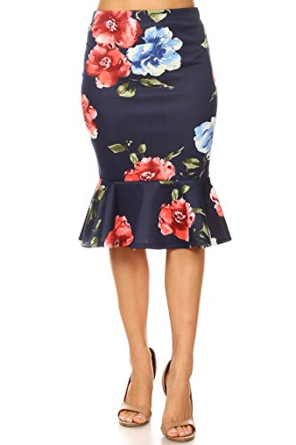 Casual Sexy Elastic Waistband Ruffle Pencil Skirts/Made in USA Floral Navy Red M