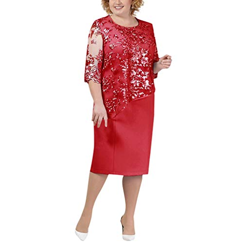 Seaintheson Womens Dress, Ladies Plus Size Cocktail Dress Short Sleeve Lace Midi Dress Elegant Evening Party Mini Skirt -
