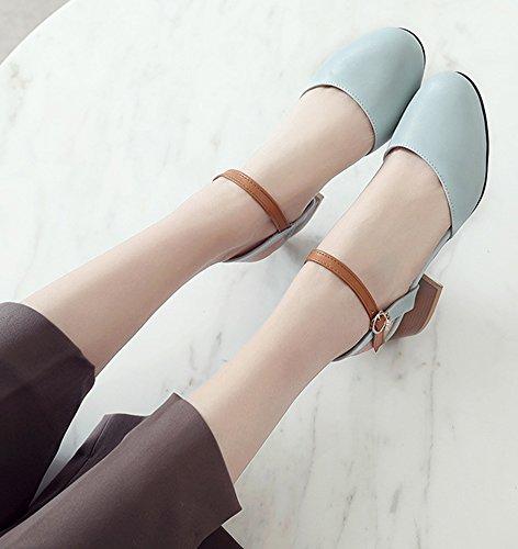 Aisun Womens Unico Elegante Blocco Con Fibbia Tacco Medio Dorsay Scarpe A Punta Chiusa Sandali Con Cinturino Alla Caviglia Blu