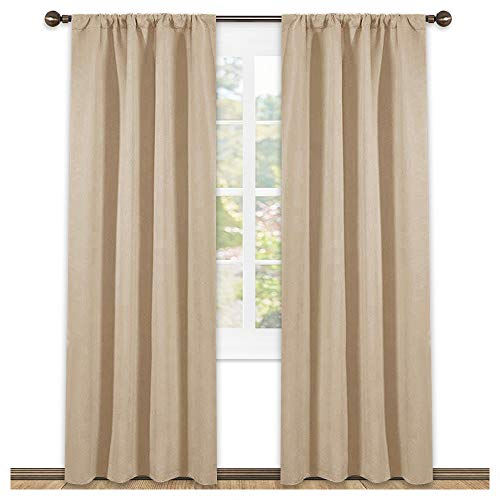 NICETOWN Kitchen Room Darkening Curtains - Panel Home Fashion Thermal Insulated Solid Rod Pocket Curtains for Window(Biscotti Beige,1 Pair,42 Inch Wide by 84 Inch Long)