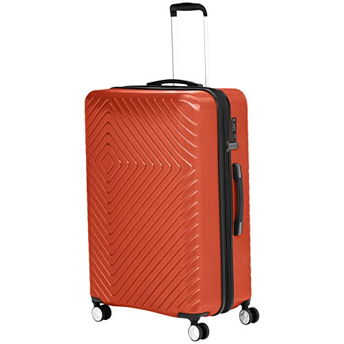 AmazonBasics Geometric Hard Shell Carry-On Rolling Spinner Suitcase Luggage - 28 Inch, Sunset