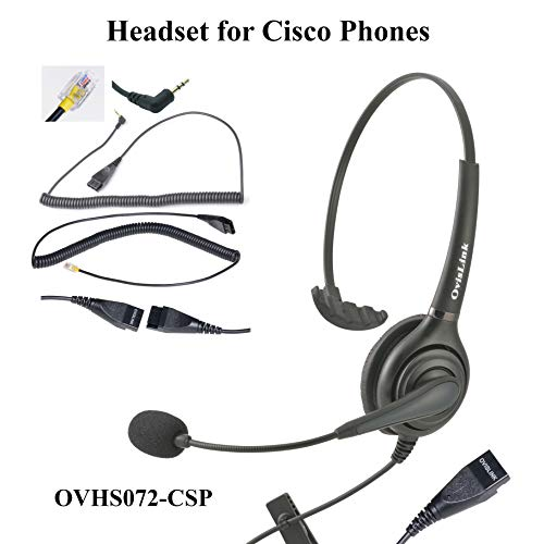 OvisLink Professional Cisco Headset with HD Sound Noise Cancellation and Quick Disconnect Cords - Monaural Call Center Headset for Cisco Phone Models 8821, 7925g, 7975, 7945, 504g, 525g and Many More