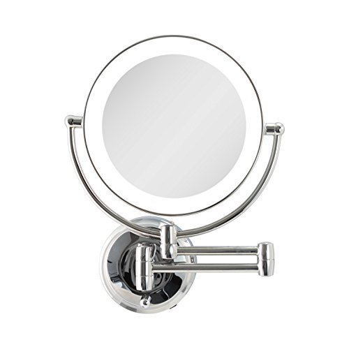 Zadro Cordless Dual LED Lighted Round Wall Mount Make Up Mirror with 1X & 10X magnification in Chrome Finish