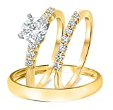 Smjewels 3/8 Ct Diamond 14k Gold Fn .925 Sterling Engagement Ring Trio Set For His & Hers