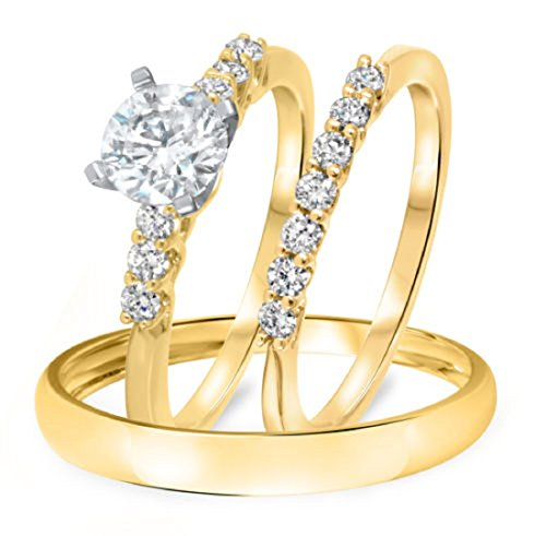 Smjewels 3/8 Ct Diamond 14k Gold Fn .925 Sterling Engagement Ring Trio Set For His & Hers by Smjewels