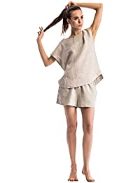 Women Pajamas Sets Sleepwear Linen Beding Short Sleeve Shorts Natural Pajama Sets Beige