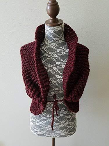 Knit Wedding Shawl. Bridesmaid Shawl. Shoulder Wrap. Handmade in Burgundy, Chunky Wool Yarn