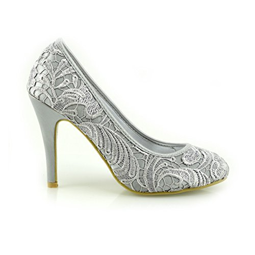 Kick Footwear Ladies Wedding Bridesmaid High Heel Women's Party Court Shoes Silver 3F58vxBVJY