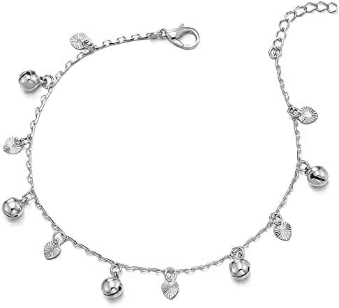 FB Jewels Solid 925 Sterling Silver 9 Heart Link Anklet
