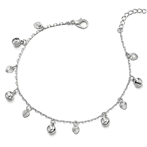 COOLSTEELANDBEYOND Beautiful Link Chain Anklet Bracelet with Dangling Grooved Hearts and Jingle Bells, Adjustable