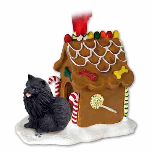- POMERANIAN BLACK Dog NEW Resin GINGERBREAD HOUSE Christmas Ornament 03B