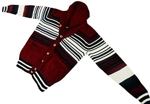 100% Baby Alpaca Cardigan, Red, Handknit, Silky, XL