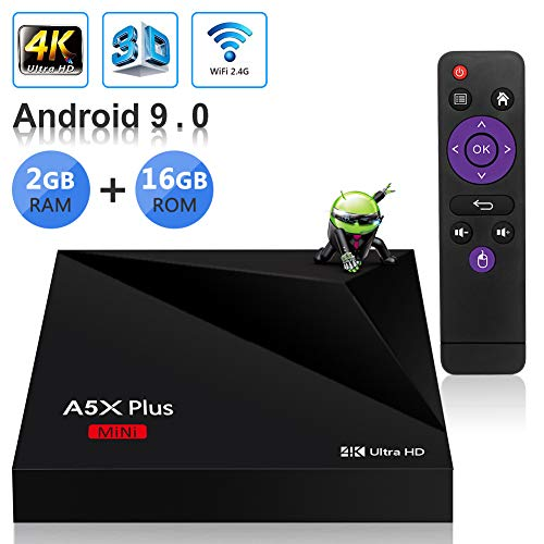 Sidiwen Android 9.0 TV Box A5X Plus Mini Smart Media Player 2GB RAM 16GB ROM Rockchip RK3328 Quad Core Support 3D 4K Ultra HD H.265 HEVC WIFI 2.4G Ethernet 100M LAN USB 3.0 Internet Set Top Box