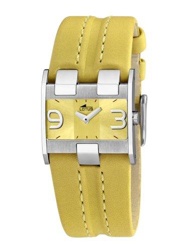 Lotus Lotus 15400-3 - Reloj analógico de mujer de cuarzo con correa de piel amarilla - sumergible a 30 metros: Amazon.es: Relojes